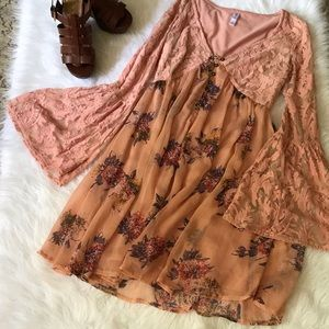 Boho look blush dress